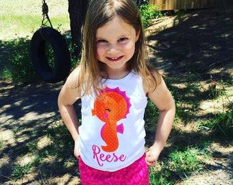 Personalized Seahorse Applique Tank or Tshirt, seahorse tshirt, girl's summer seahorse tank top