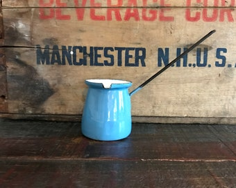 Vintage Light Blue Turkish Coffee Pot, Butter Warmer, Small Enamelware Melter, Made in Yugoslavia