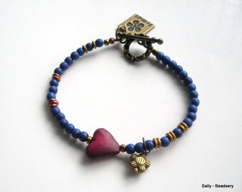 Bead Heart Bracelet, Bracelet with Charm, Red Heart Charm Bracelet, Crimson Heart, Navy Blue Beaded Bracelet