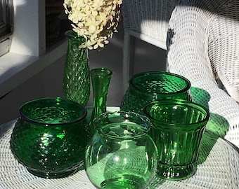 Vintage green vases, set of green vases