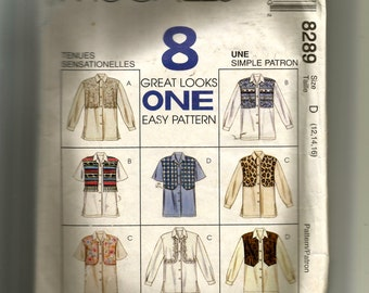 McCall's Misses' Shirt With Mock Vest Pattern 8289