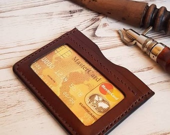 Mens leather wallet,small leather wallet,leather cardholder.