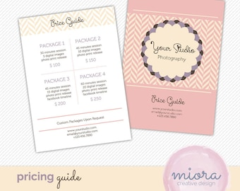 Price List - Pricing Guide Photoshop Template for Photographers - INSTANT DOWNLOAD - PG004