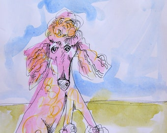 Pretty in Pink original watercolor painting with pen and ink detail-dog art-wall art-decor-dogs-poodle-standard poodle-pink poodle-painting