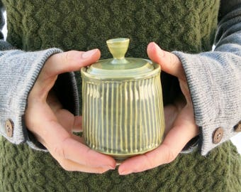 Ceramic Mini Jar in Jade Green Stripes Weed Pot Container Vessel One of a Kind Home Decor, Handmade Artisan Pottery by Licia Lucas Pfadt