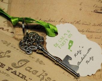 Bachelorette party favor - Key Bottle Opener - Skeleton Key - Personalized - Custom - Set of 10 - Vintage inspired
