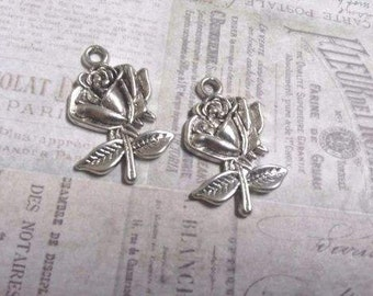 Wholesale charms etsy flower charms pendants antiqued silver rose charms bulk wholesale charms 500 pieces preorder aloadofball Images