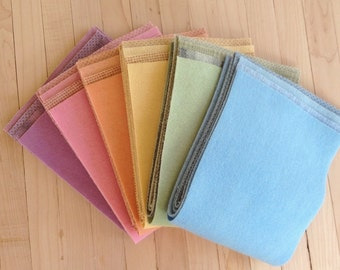 """Hand Dyed Felted Wool, SPRING,  24 pieces in Soft Pastels, 6.5"""" x 16"""" each, Perfect for Rug Hooking, Applique' and Crafting"""