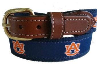 University of Auburn Men's  Web Leather Belt