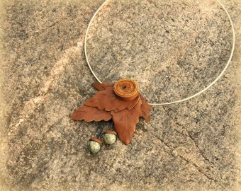 Leather necklace, leather, necklace, pendant, leaf, leaves, acorns, jewelry, gemstone necklace, gemstone pendant, leather jewelry