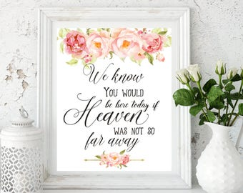 download We Know You Would Be Here Today If Heaven Wasn't So Far Wedding memorial sign Memorial sign In loving memory Wedding decor idwr25
