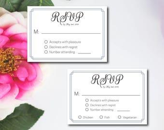 Blue Grey Border Modern Wedding RSVP Template, Wedding Response Card, DIY Instant Download, Editable Wedding Invitation