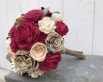 Deep red wood flower bouquet, sola flower wedding bouquet, cranberry bridal bouquet, ecoflowers, champagne sola wood wedding flowers