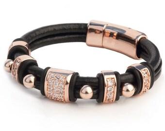 14/20K Rose Gold And Black Leather Bracelet