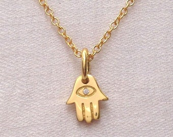 Gold Hamsa Hand Evil Eye Necklace with Cubic Zirconia