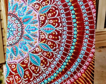 Mandala painted, 240 acid free sheets, unlined kraft paper journal, 8×6 inch layflat sketch or writing book, hard cover