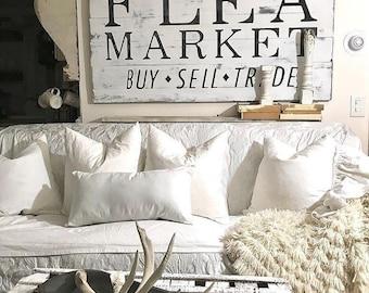 Flea Market Sign // Reclaimed Wood // Wooden Sign // Vintage // Farmhouse Syle // Modern Farm House // Cottage // Farmhouse decor