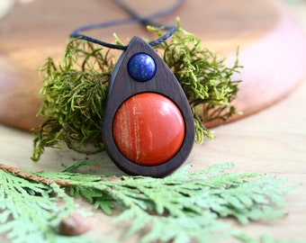 Crystal Wood Gemstone Necklace, Red Jasper, Lapis Lazuli