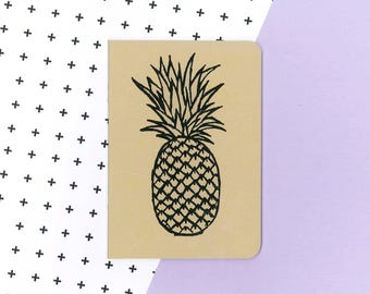 Pineapple notebook - tropical fruit journal - drawn illustration