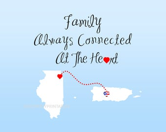 Puerto Rico Family always connected from US states to Puerto Rico, Christmas gifts, Puerto Rican gifts under 25, 8 x 10  set in 11x14 mat.