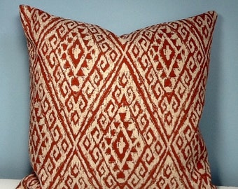 Boho throw pillow. Rust Tribal throw pillow, bohemian decor, eclectic decor, ethnic pillow cover, southwestern, Aztec, brick, zipper pillow.