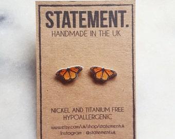 Orange / Yellow Monarch Butterfly Stud Earrings - 1 pair