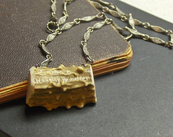 The Bad Reindeer Antler Necklace. Handmade Humorous Christmas Gift. Novelty Gift Genuine carved inscribed deer antler rustic unisex talisman