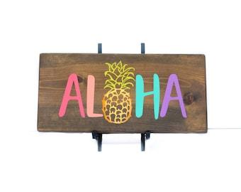 Hawaiian Aloha Art - Pineapple  - Aloha Gift - Blue Aloha Word Painting
