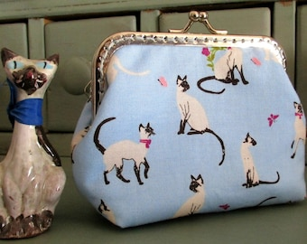 Siamese cat purse, cat purse, blue purse, pink purse
