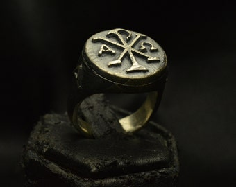 Chi Rho  Ring Christian Protection Ring