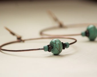 COPPER HOOP EARRINGS with turquoise beads~ Gypsy Jewelry~ Boho Style~ Copper Earrings~ Hand Forged Jewelry~ Hammered Copper~ Gift for Mom