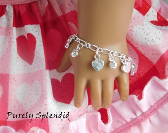 Heart Charm Bracelet for 18 inch girl dolls, American made accessory, Valentine arm candy, dainty sparkling jewelry, Birthday Party Gift