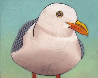 SEAGULL Art Print, seagull print, Original Collograph, Feeling Gullible 1
