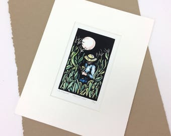SALE - Harvest Moon - Linocut Printmaking - Corn Field - Moon - Farmer - Block Print - Wall Art - Black and White - Farm - Harvest - 8x10