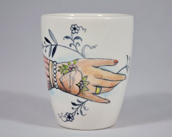 Handmade porcelain mug with hand painted  tattoo old style and german blue onion