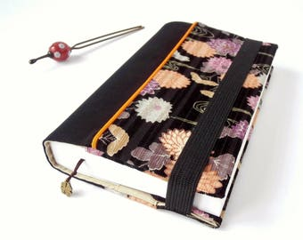 Protects-pocketbook adjustable fabric with bookmark (Japanese Chrysanthemum/noir_beige patterned fabric)