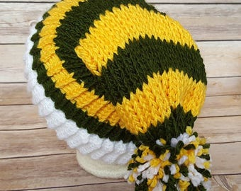 Green Yellow Slouchy Hat, Green Yellow Sports Team Hat, Packers Hat, Knit NFL Hat, Knit Green Bay Packers Hat, Packers Beanie, USF Bulls Hat