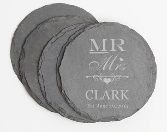 Personalized Coaster, Custom Engraved Slate Coaster, Personalized Slate Coaster Set, Personalized Wedding Gifts, Mr and Mrs  Anniversary D21