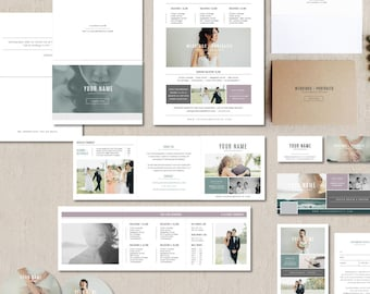 SALE! Wedding Photographer Marketing Set - Photo Business Cards - Pricing Templates for Photographers - Photography Branding Suite