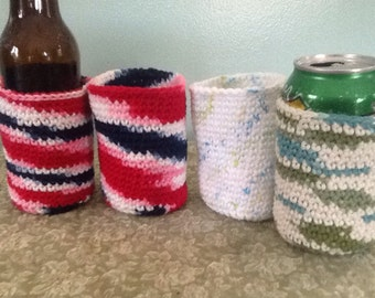 Set of 4 cotton Can  or Bottle  cozy