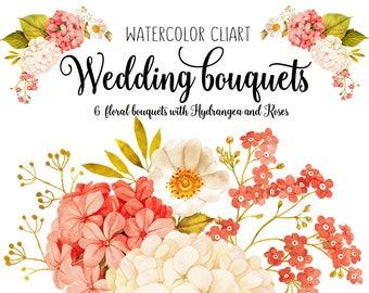 Watercolour Floral clipart, Wedding clipart, Hydrangea clipart, Roses watercolor, Flower watercolor clipart, Wedding flower, Wedding clipart