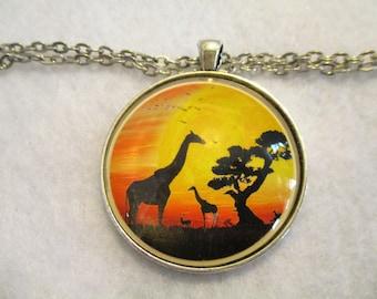 GIRAFFE on the African SERENGETI Cabochon PENDANT Necklace