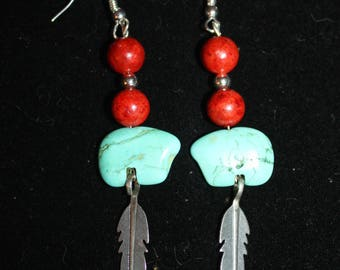 Turquoise Bear and Coral Feather Earrings