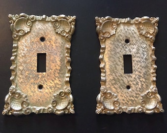 Vintage Gilt Gold Metal Ornate Switch Plate Cover