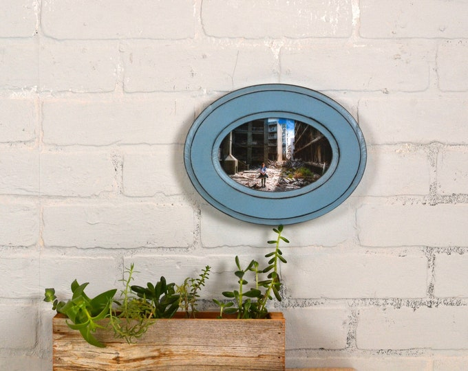 4x6 Oval Opening Picture Frame Oval Shaped Outside with Black under Smokey Finish - Solid Poplar Wood 4 x 6 - IN STOCK Same Day Shipping