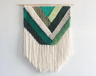 """24"""" Woven Wall Hanging   Emerald Geometric Weaving"""