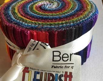 "Fleurish Pinwheel from Benartex - 40 Bright Solids in 2 1/2"" Strips"