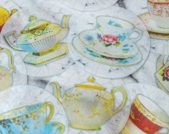 Edible Tea Cups Teapots Lace Images Wafers Paper 12 Cake Decorations Cupcake Biscuit Topper Afternoon Tea Party Wedding Alice Wonderland