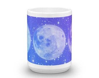 Triple Moon Mug / Moon Goddess Mug / Moon Phase Cup / Lunar Teacup / Gypsy Boho Chic Coffee Cup / Bohemian Stoneware Drinking Glass