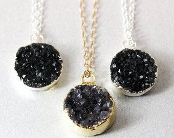 50% OFF SALE - Black Druzy Necklace - Round Druzy Pendants - Gold or Silver